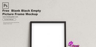 Free Blank Black Empty Picture Frame Mockup PSD Template