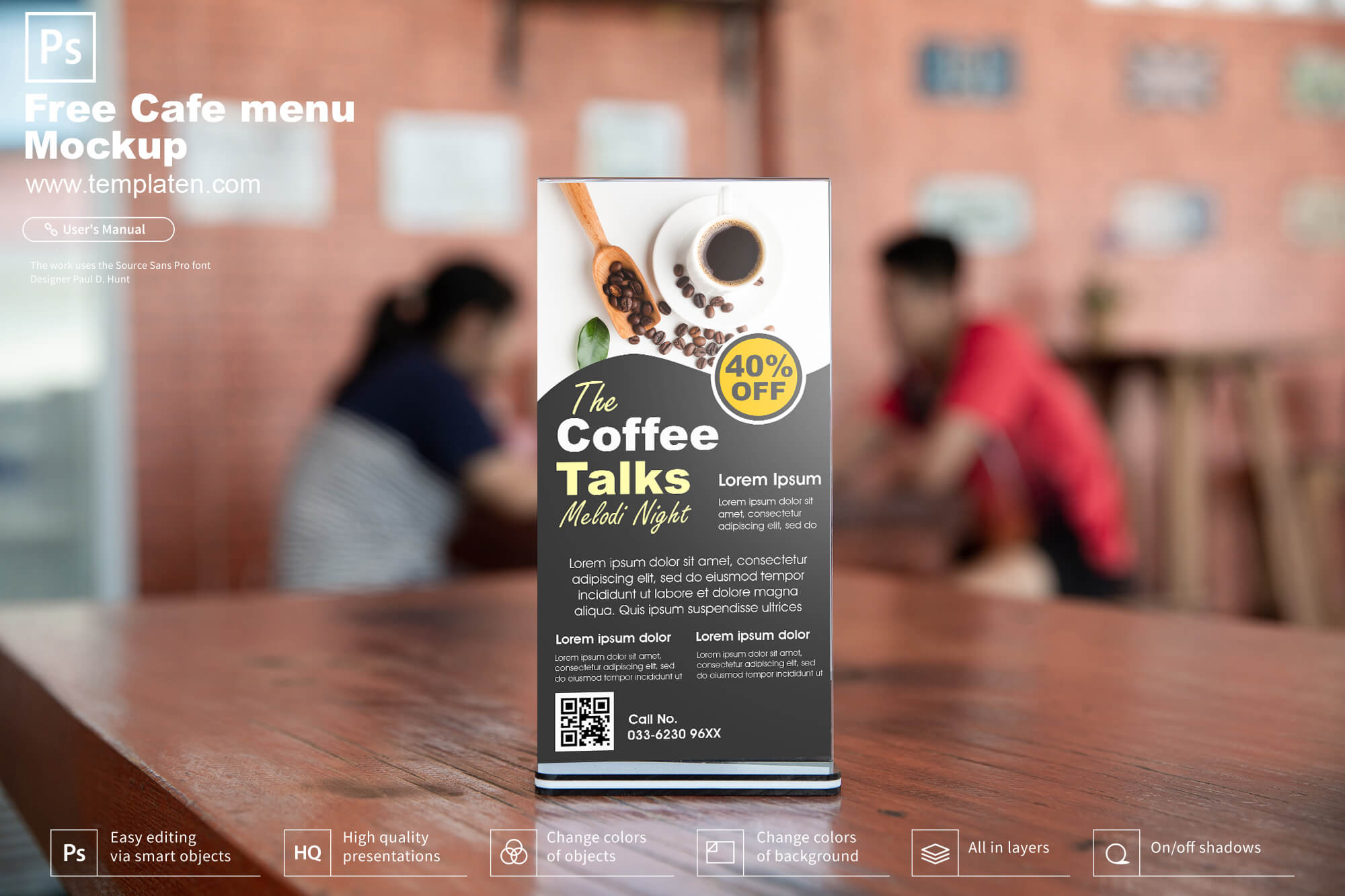 Free Cafe menu mockup PSD Template