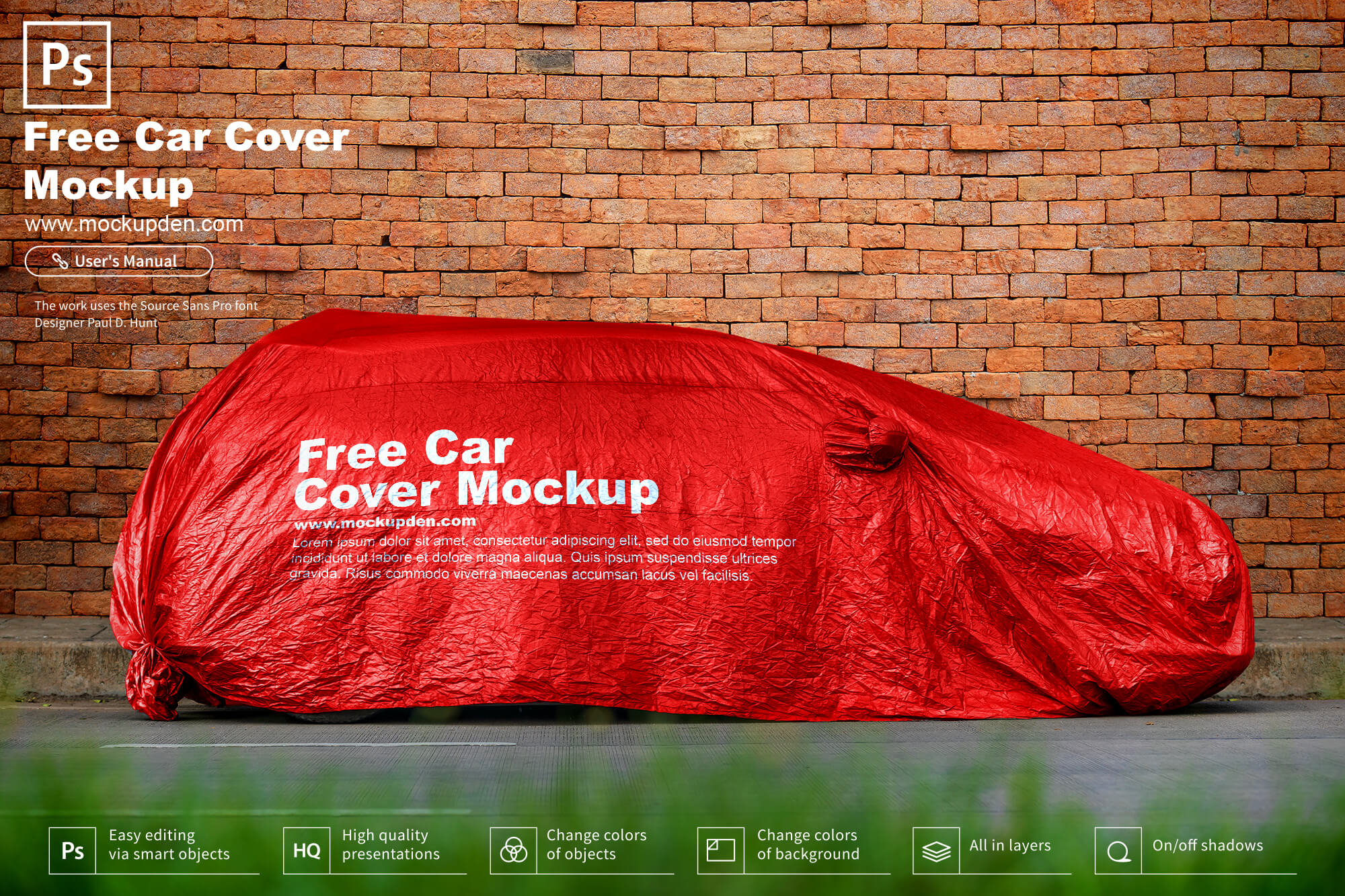 Free Car Cover Mockup PSD Template
