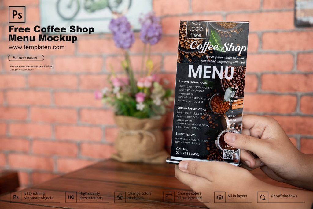 Free Coffee Shop Menu Card Mockup PSD Template