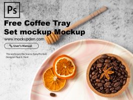 Free Coffee Tray Set Mockup PSD Template