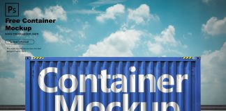 Free Container Mockup PSD Template