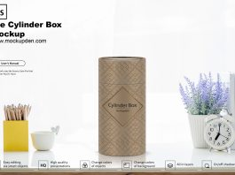 Free Cylinder Box Mockup PSD Template