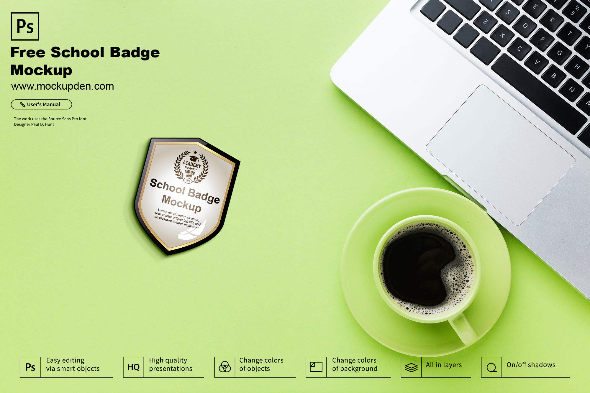 Free School Badge Mockup PSD Template