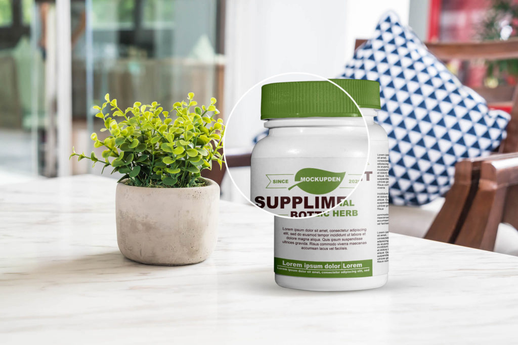 Free Supplement Bottle Mockup PSD Template