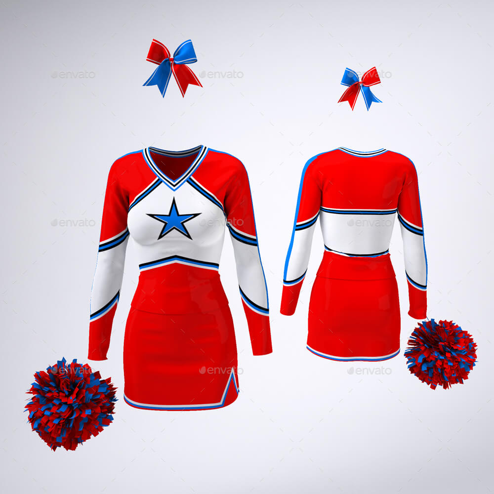 Girls cheerleading Uniform mockup