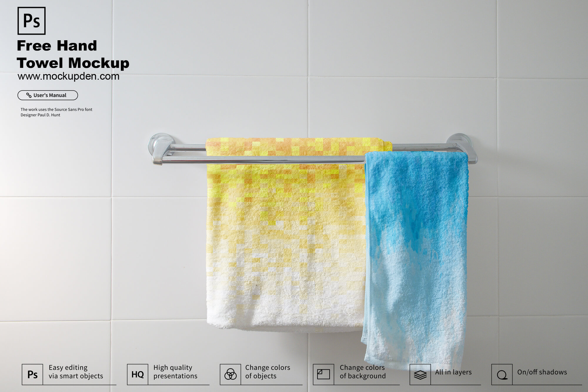 Free Hanging Hand Towel Mockup PSD Template