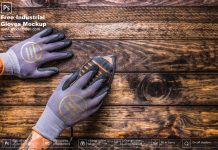 Free Industrial Gloves Mockup PSD Template