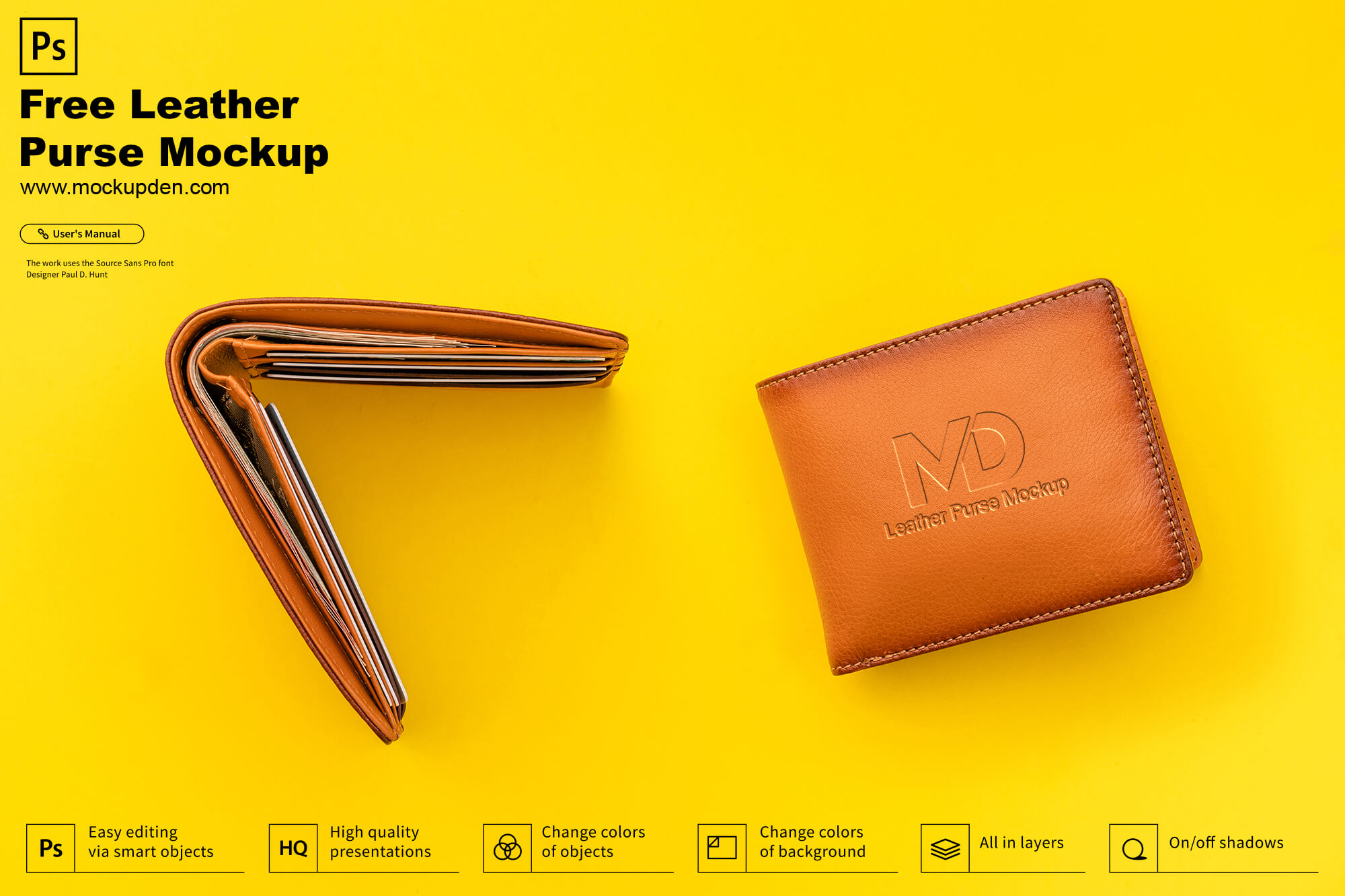 Free Leather Purse Mockup PSD Template
