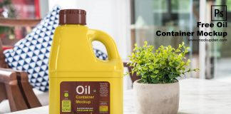 Free Oil Container Mockup PSD Template