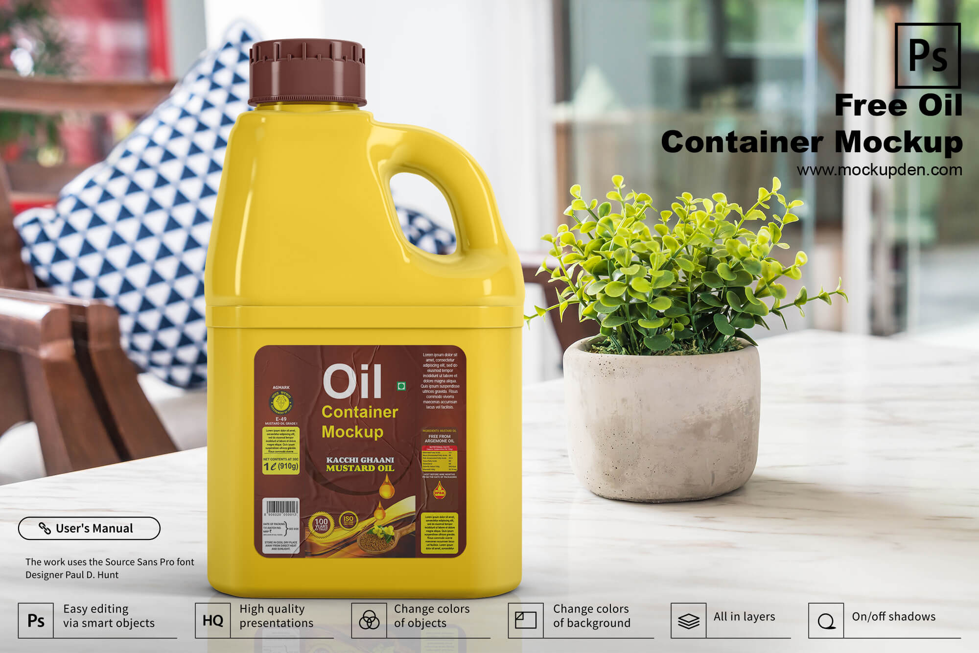 Free Plastic Oil Container Mockup PSD Template