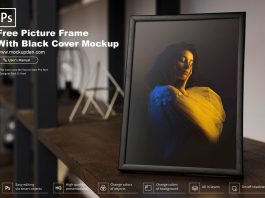 Free Picture Frame With Black Cover Mockup PSD Template