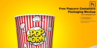 Free Popcorn Containers Packaging Mockup PSD Template