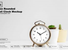 Free Rounded Wall Clock Mockup PSD Template