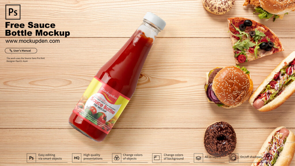 Free Sauce Bottle Mockup PSD Template