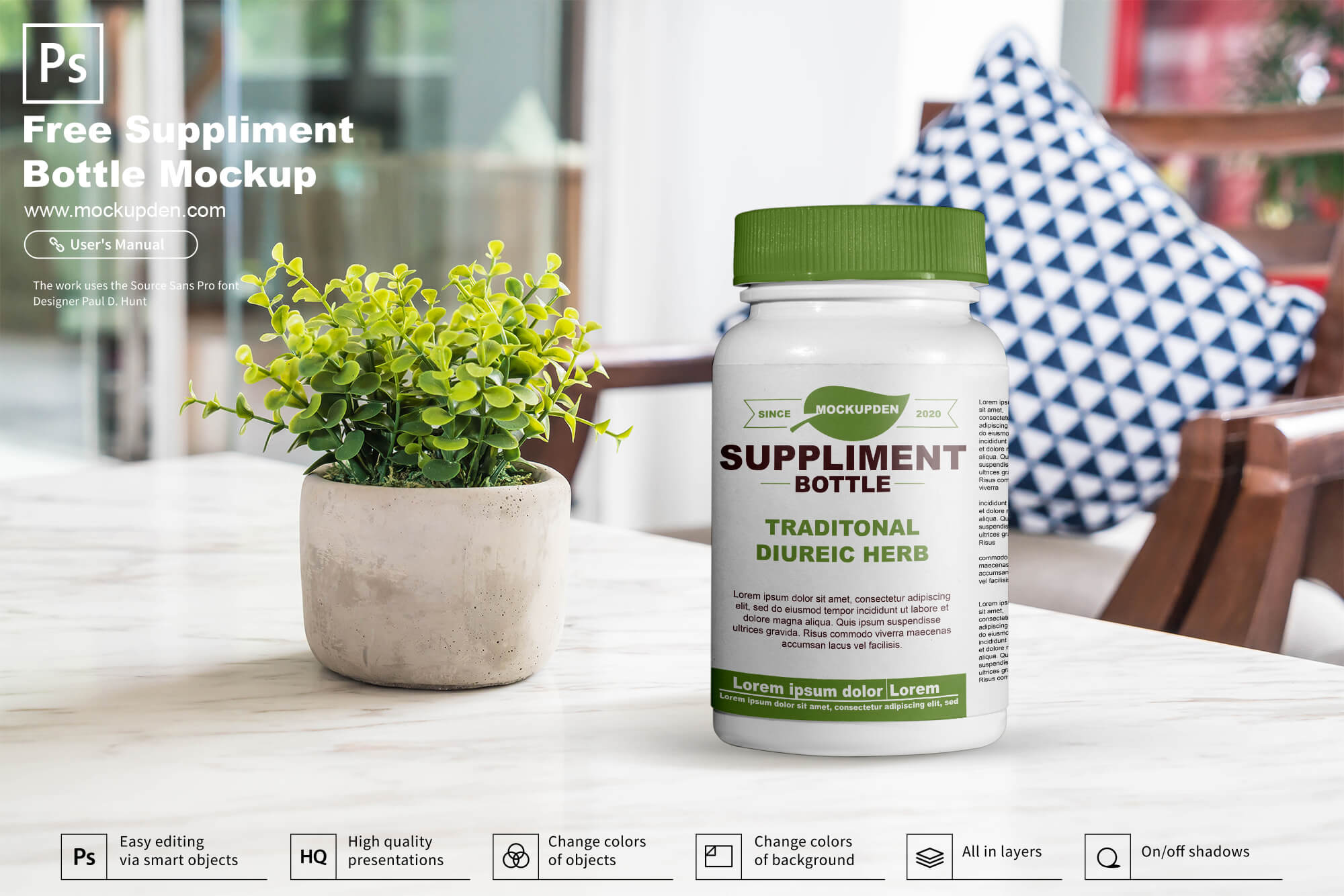Free Suppliment Bottle Mockup PSD Template