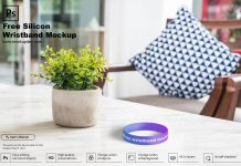 Free Silicon Wristband Mockup PSD Template