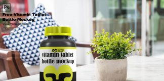 Free Vitamin Tablet Mockup PSD Template