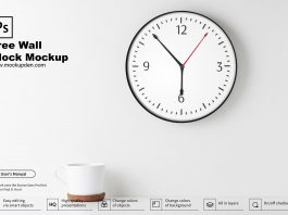 Free Wall Clock Mockup PSD Template