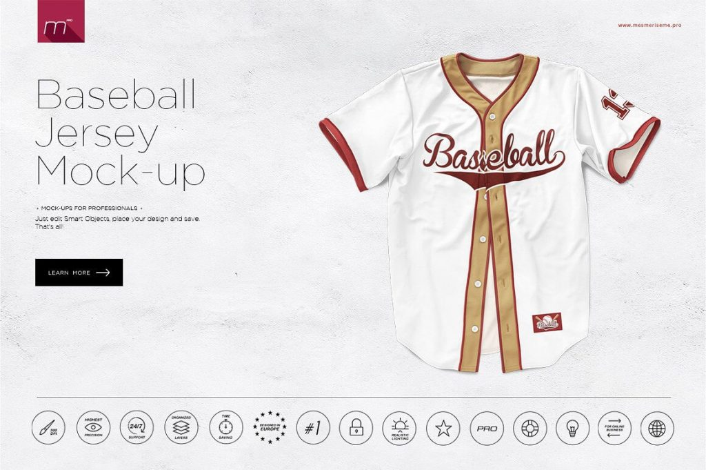 White color baseball jersey mockup