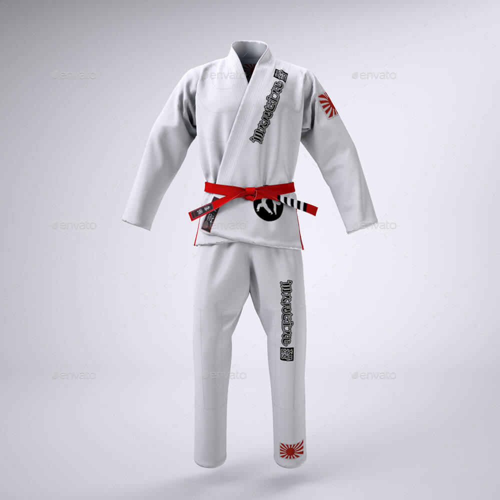 White martial arts uniform PSD mockup