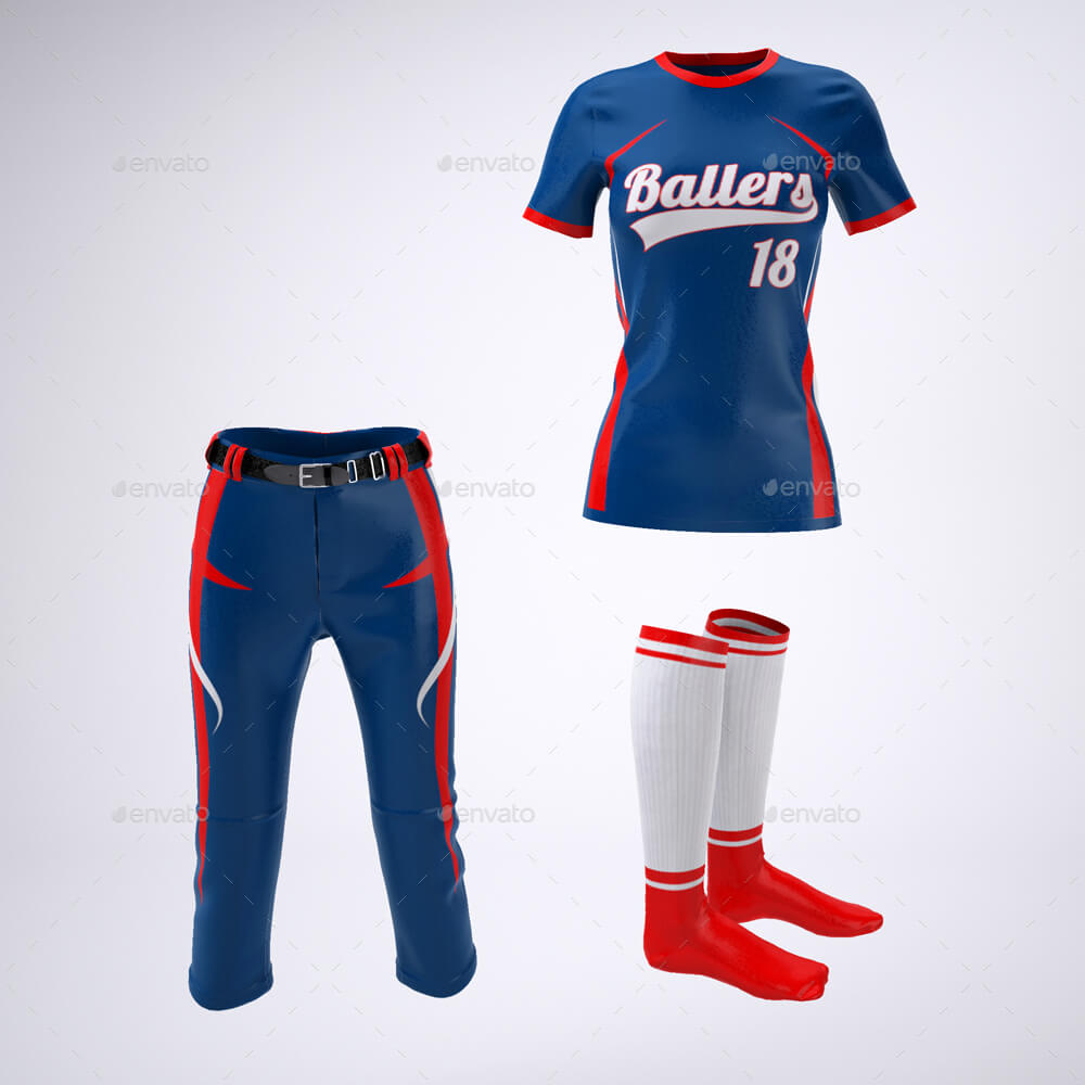 Women's softball jersey uniform PSD