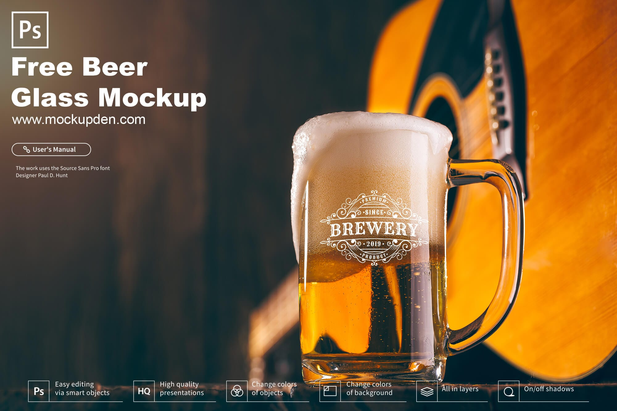 Free Beer Glass Mockup PSD Template
