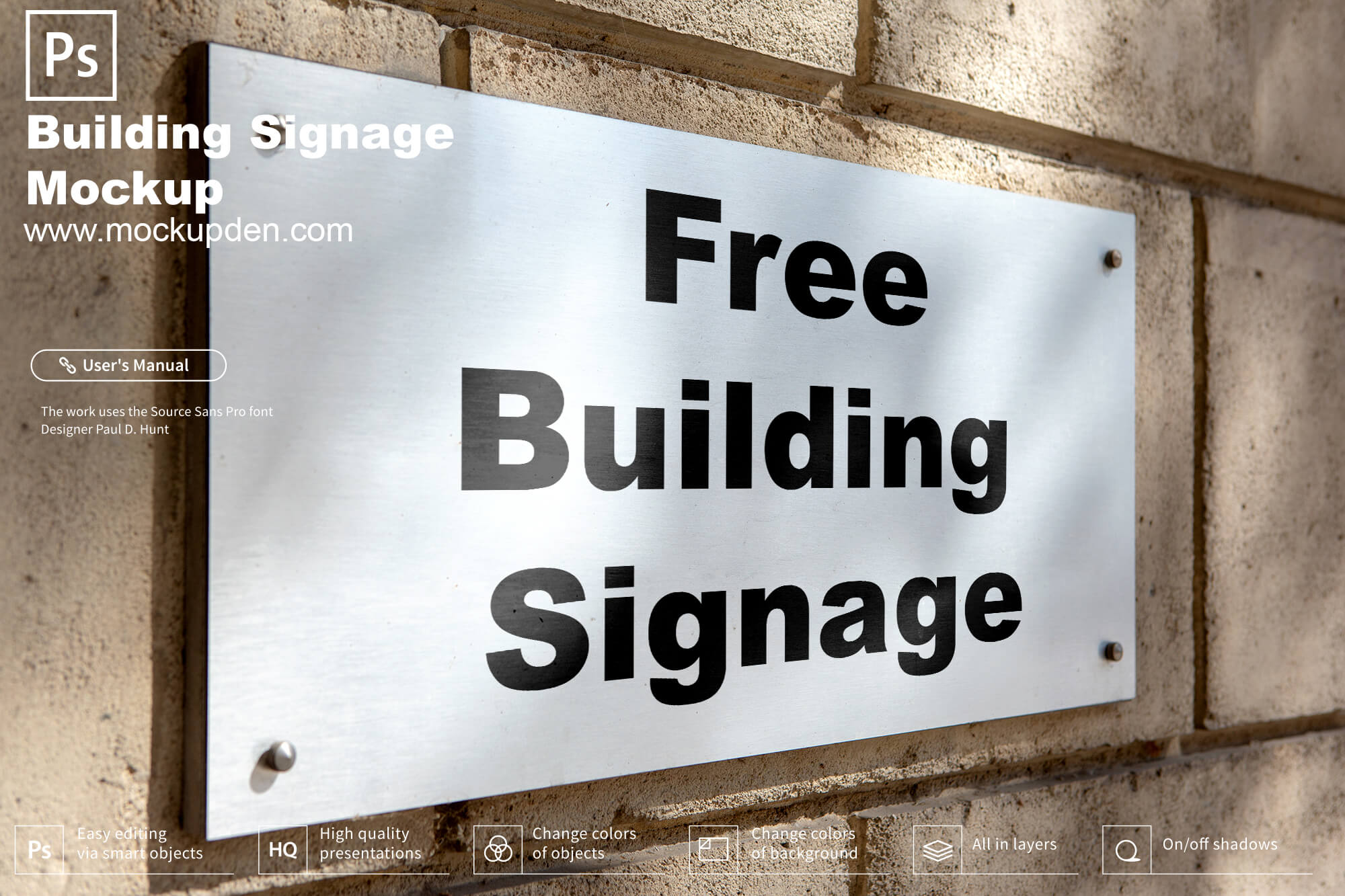 Free Metal Building Signage Mockup PSD Template