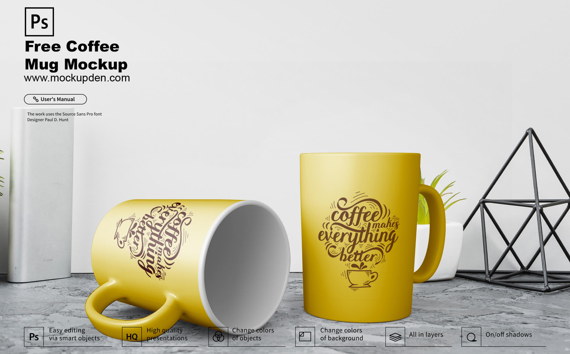 Free Coffee Mug Set Mockup PSD Template