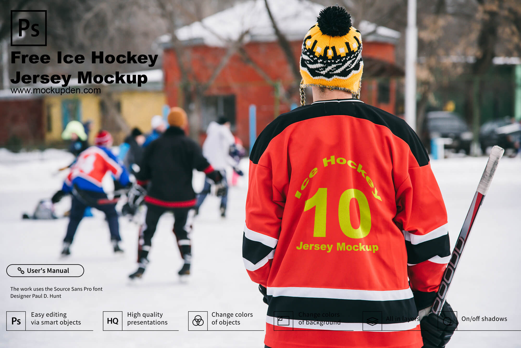 Free Ice Hockey Jersey Mockup PSD Template
