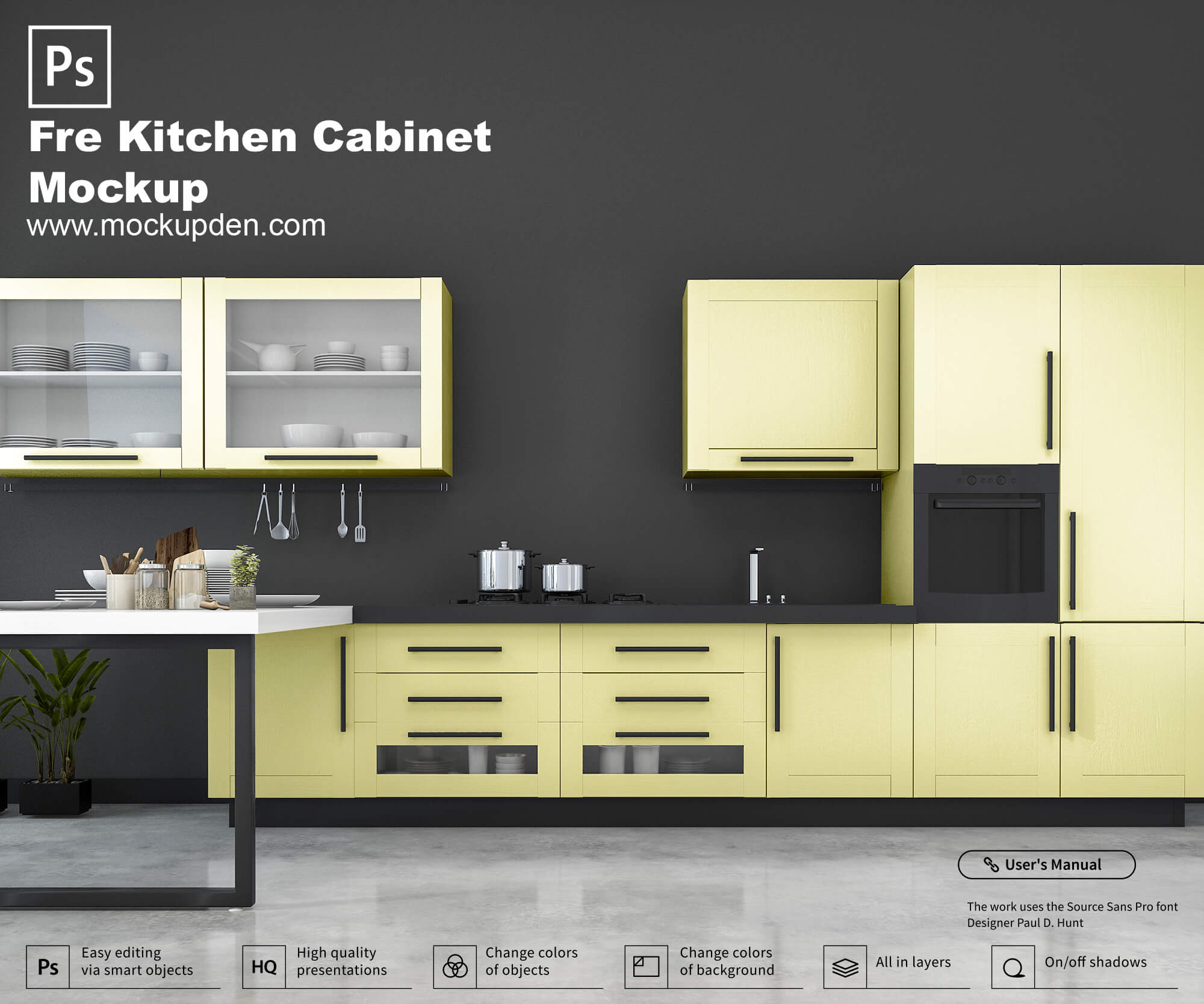 Free Kitchen Cabinet Mockup PSD Template