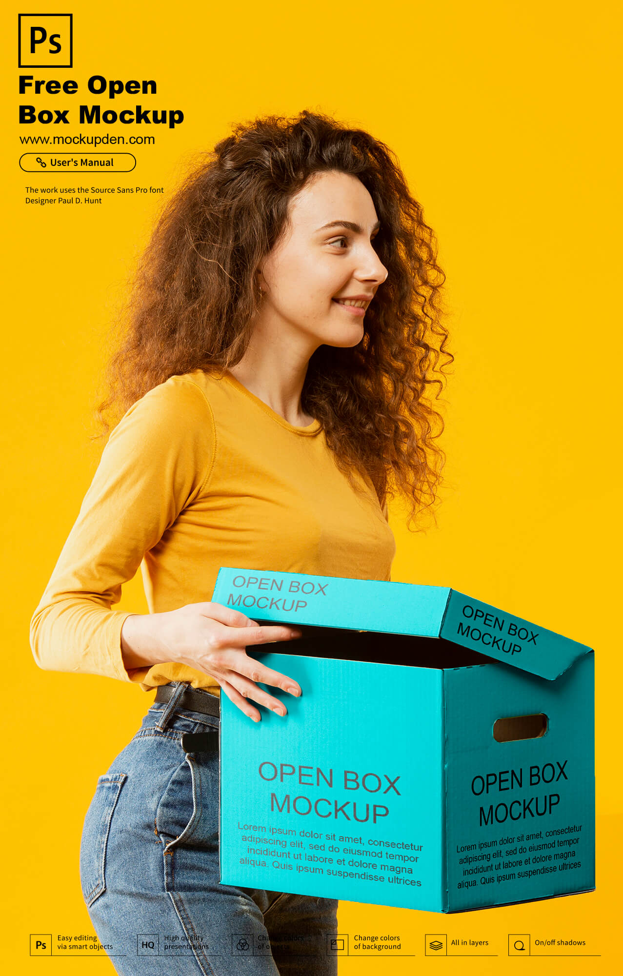 Free Woman Holding Open Box Mockup PSD Template