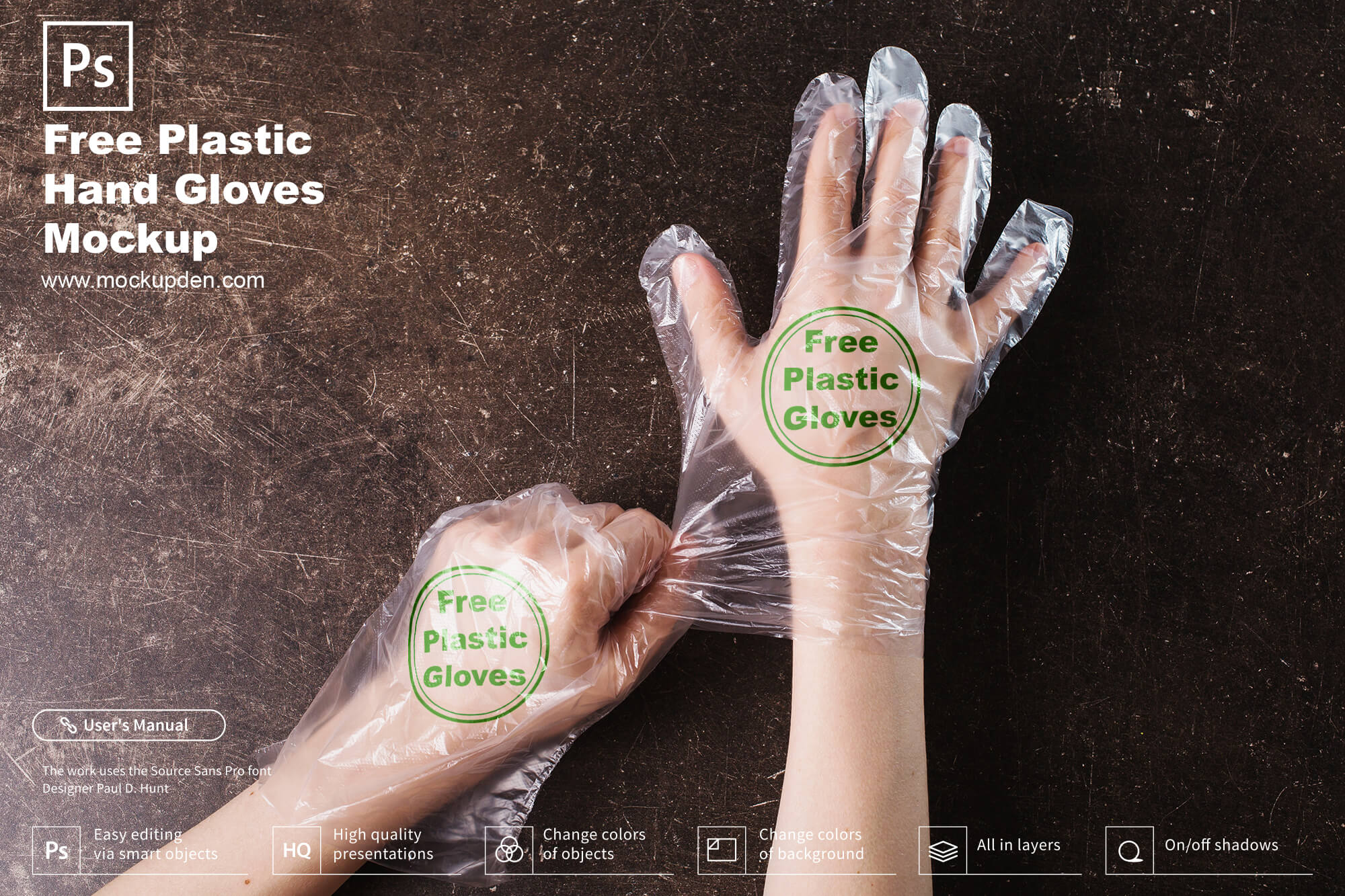 Free Plastic Hand Gloves Mockup PSD Template