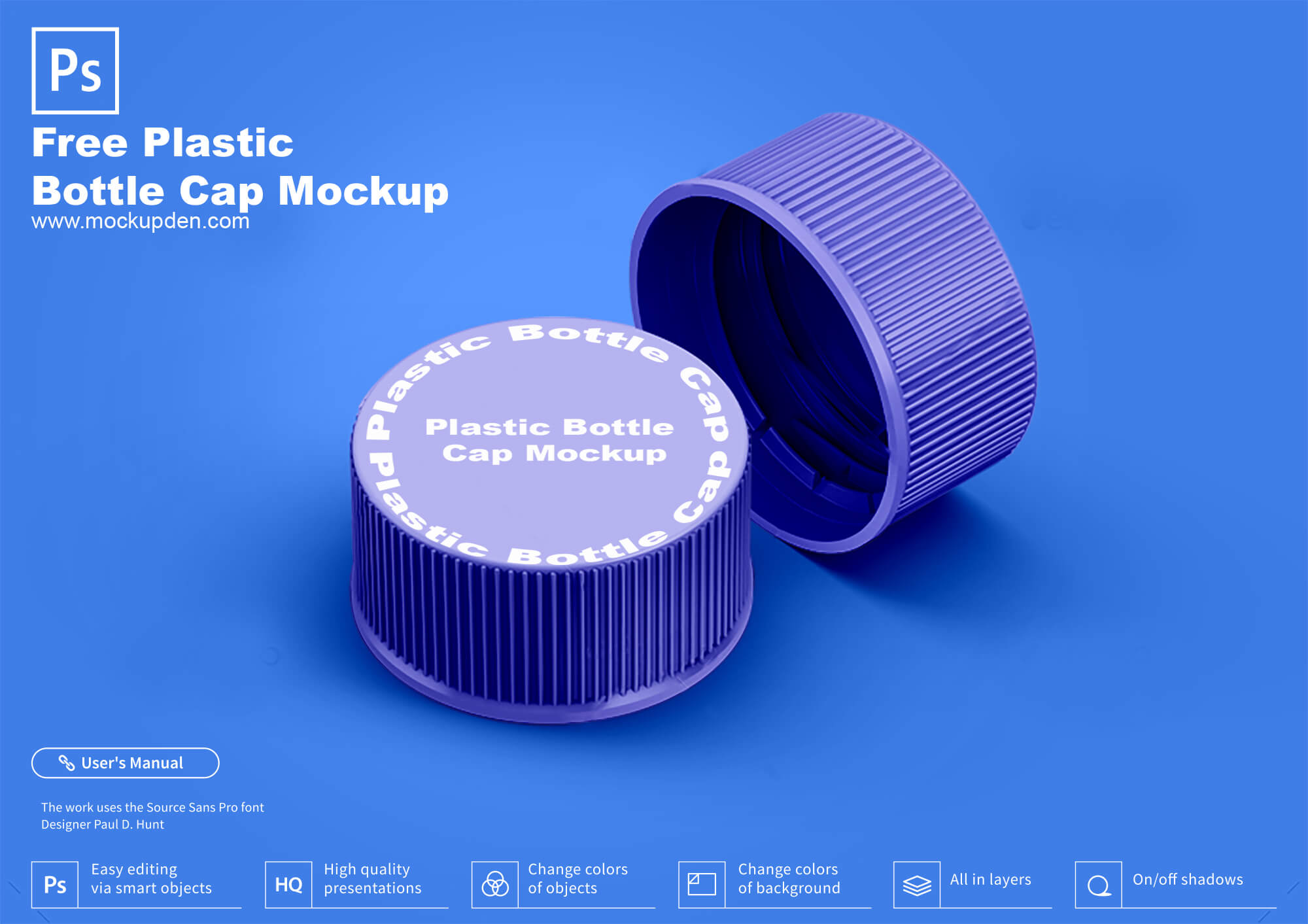Free Plastic Bottle Cap Mockup PSD Template