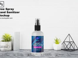 Free Spray Hand Sanitizer Mockup PSD Template