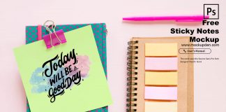 Free Sticky Notes Mockup PSD Template