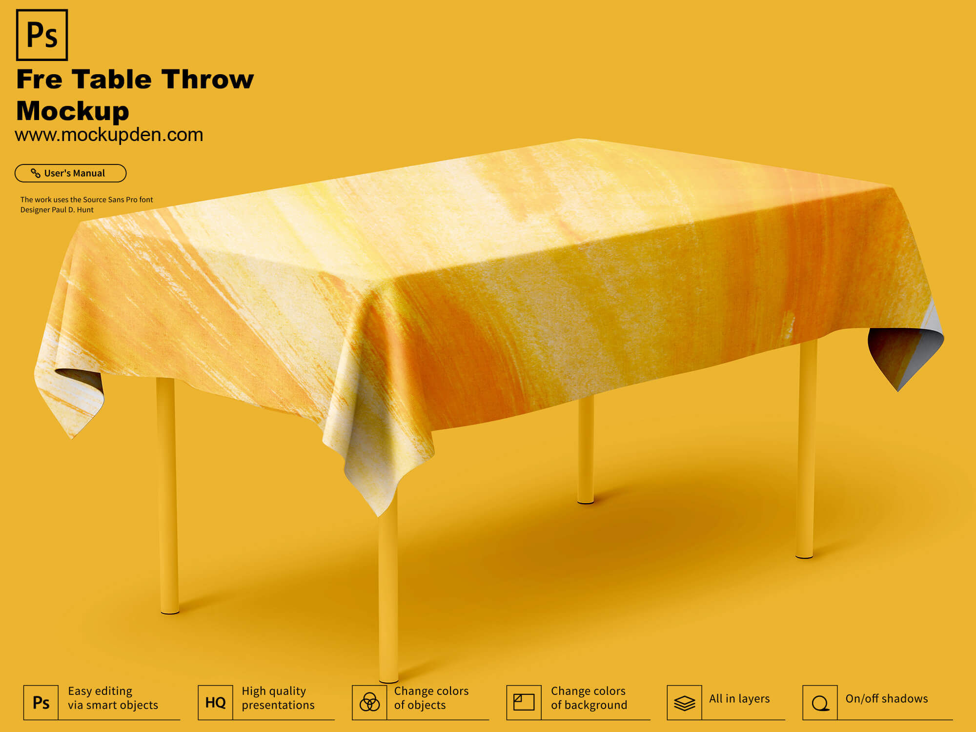 Free Table Throw Mockup PSD Template