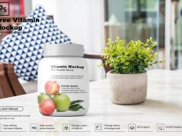 Free Vitamin Mockup PSD Template