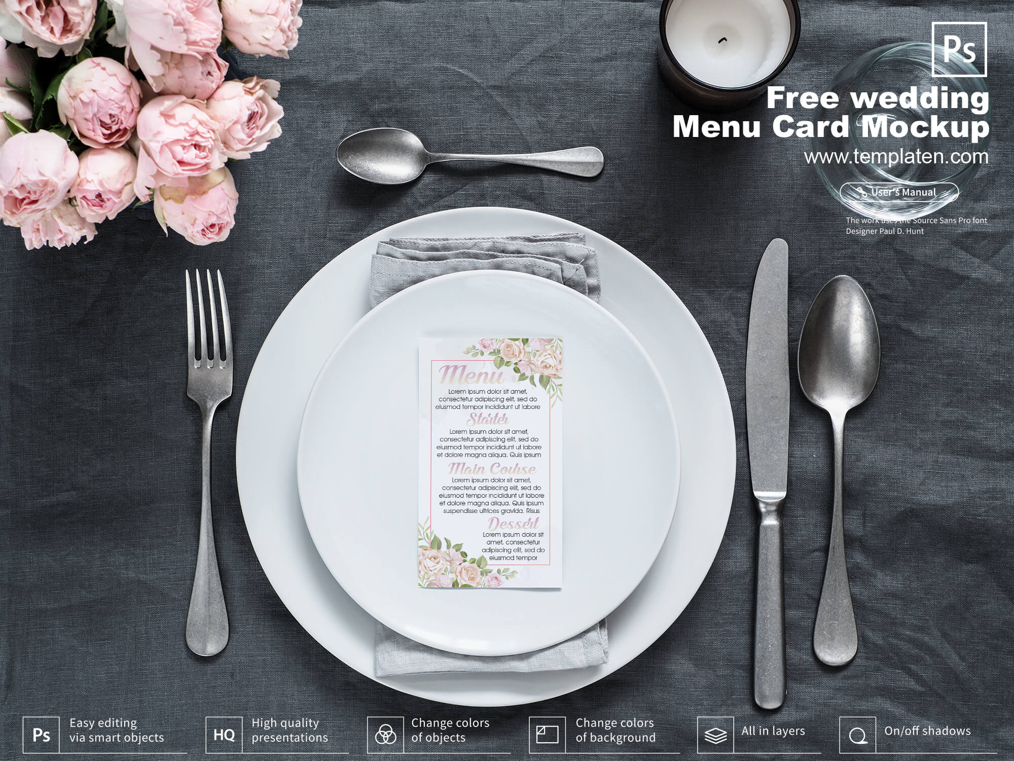Free Wedding Menu Card Mockup PSD