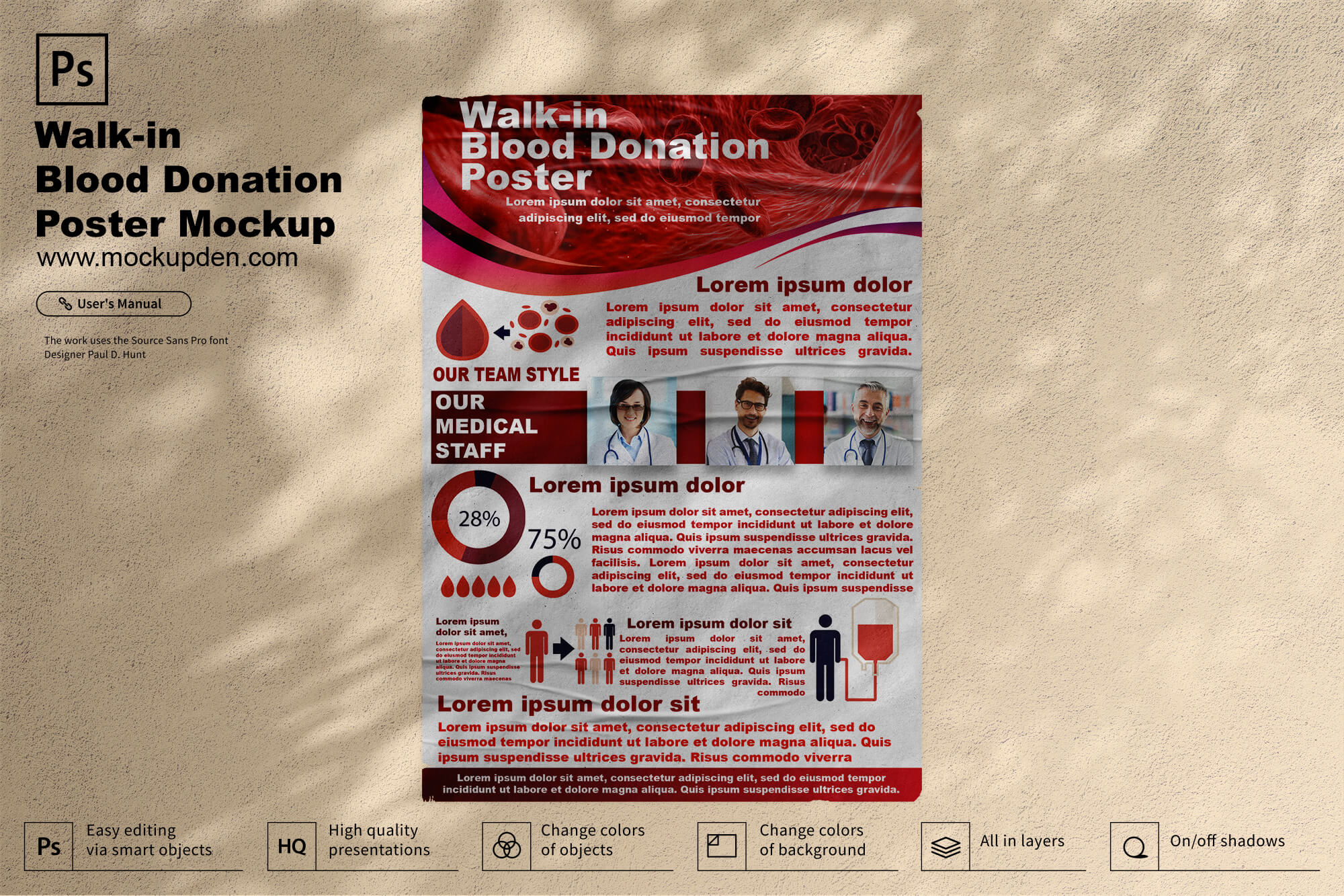 Free Walk-in Blood Donation Poster Mockup PSD Template