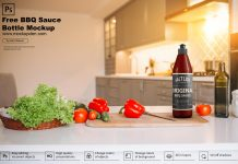 Free BBQ Sauce Bottle Mockup PSD Template