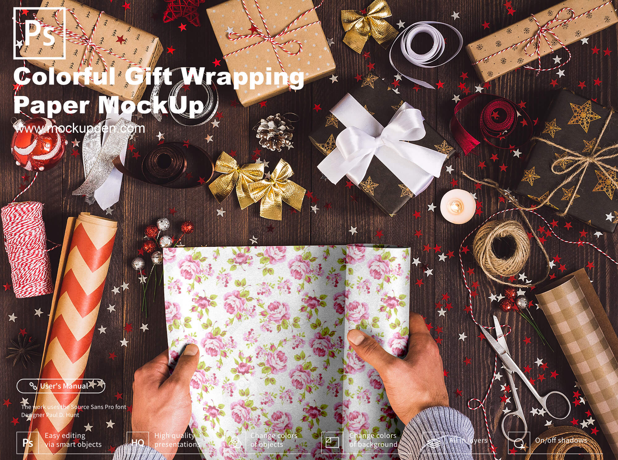 Colorful Gift Wrapping Paper MockUp