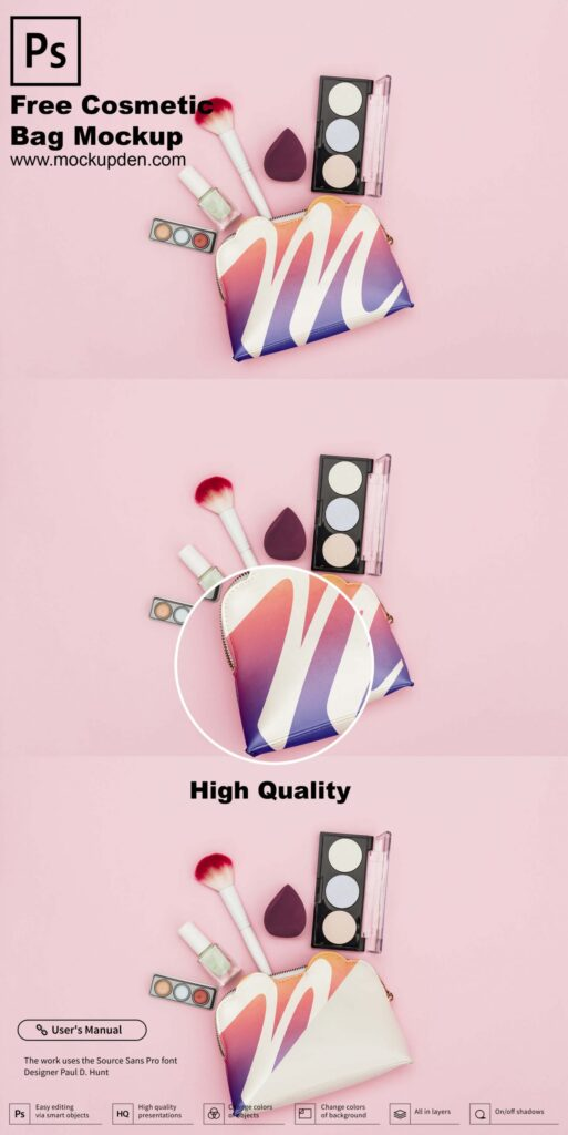 Free Cosmetic Bag Mockup PSD Template