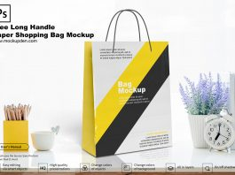 Free Long Handle Paper Shopping Bag Mockup