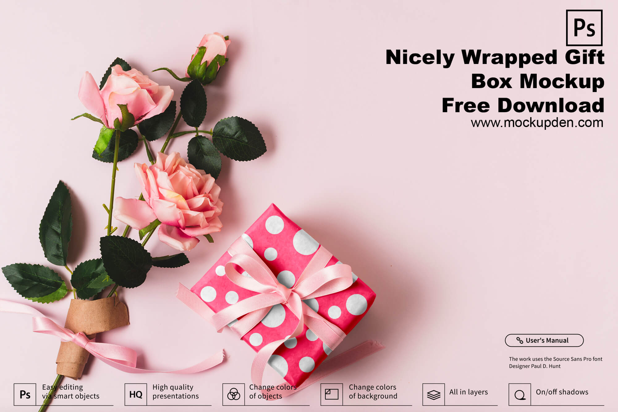 Nicely Wrapped Gift Box Mockup Free Download