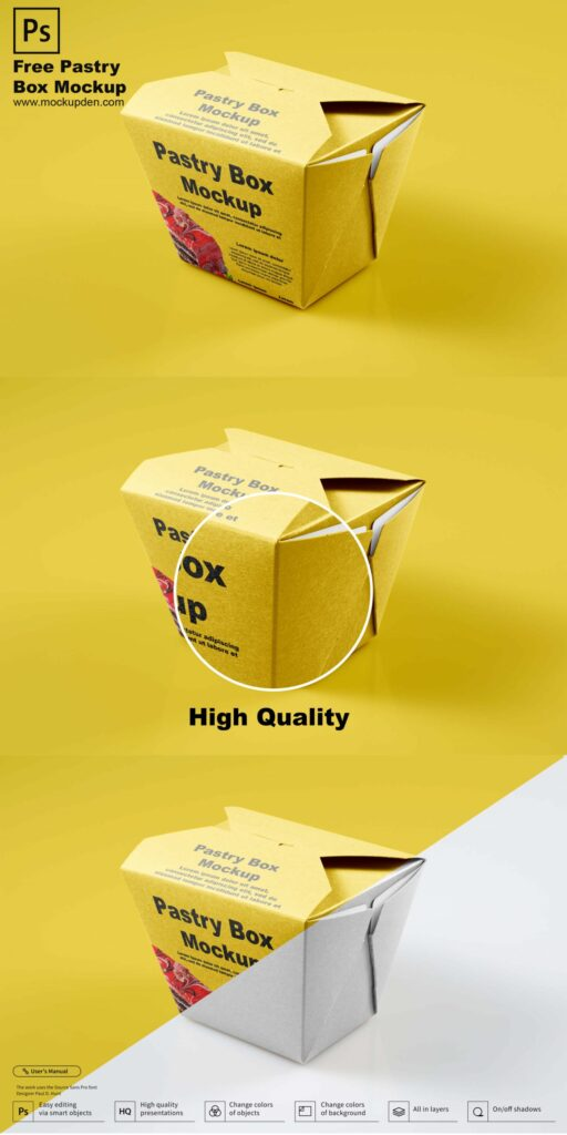 Free Pastry Packaging Box Mockup PSD Template