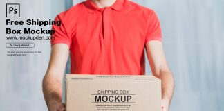 Free Shipping Box Mockup PSD Template