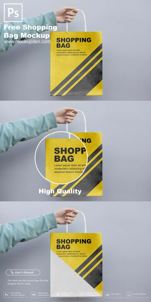 Free Hand Holding Shopping Bag Mockup
