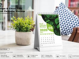 Simple & Clean Free Desk Calendar Mockup