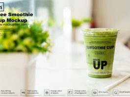 Free Smoothie Cup Mockup PSD Template